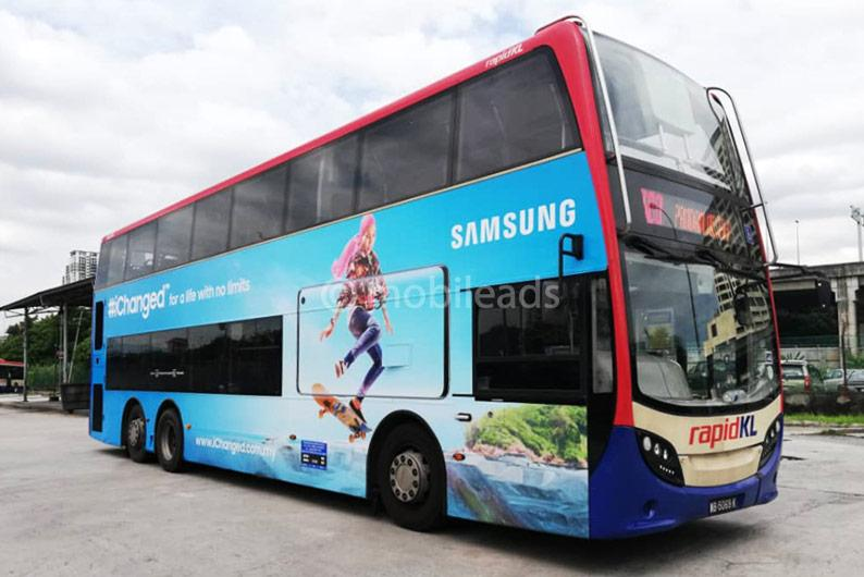 rapid kl, double decker, bus advertising, transit advertising, outdoor advertising, mobile ads marketing, samsung, advertising agency