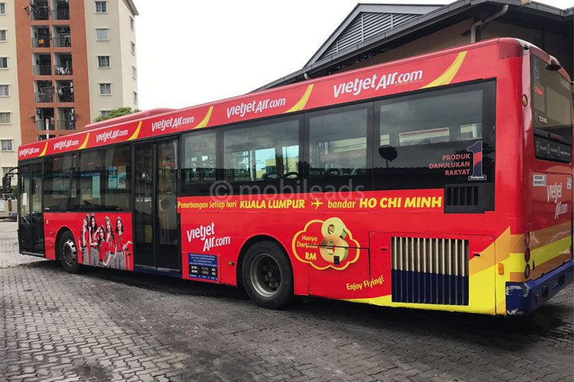 rapid kl, single decker, bus advertising, transit advertising, outdoor advertising, mobile ads marketing, vietjet airline, advertising agency