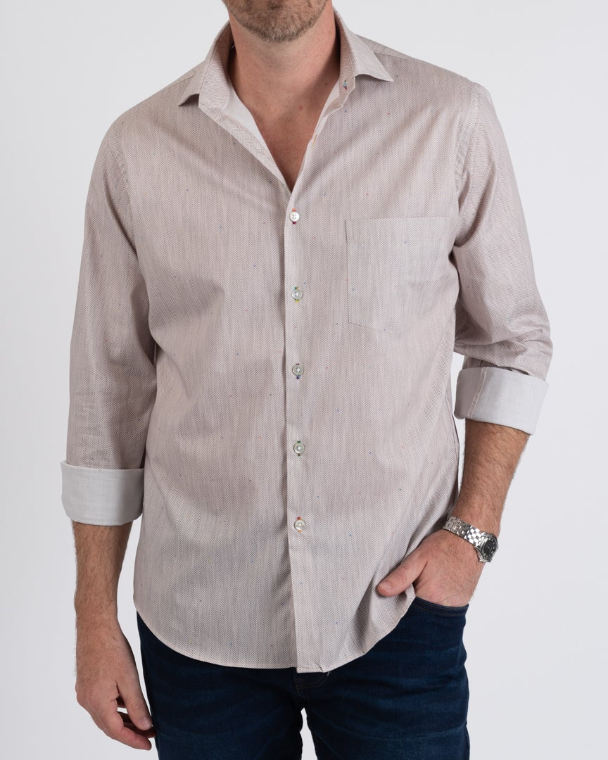 Brown Herringbone Print Shirt
