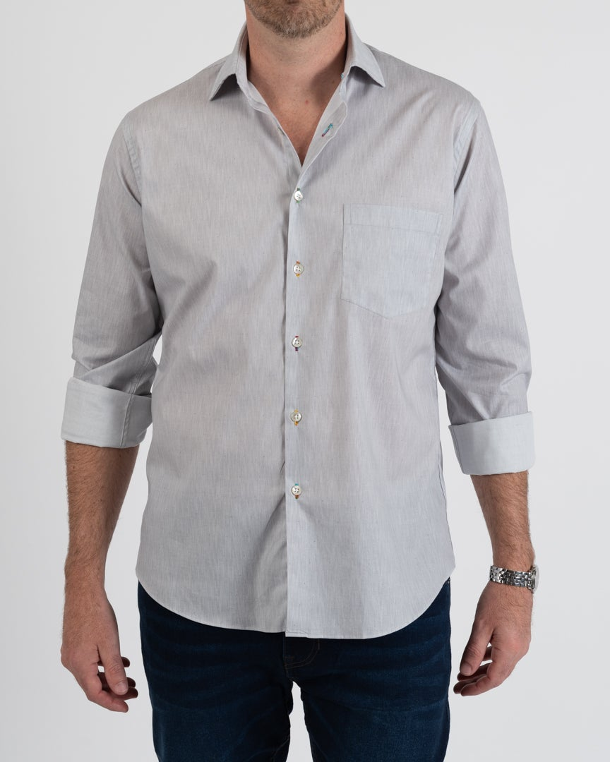 Grey Herringbone Print Shirt