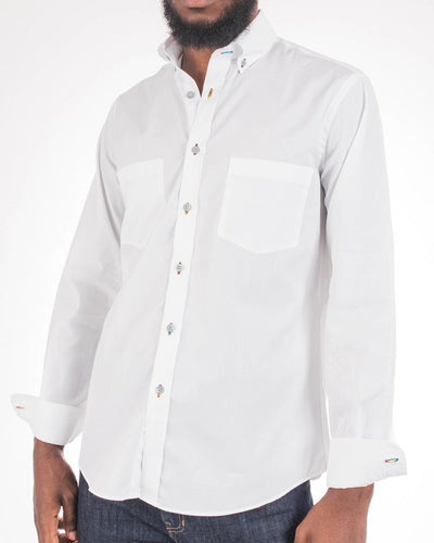 White Landcaster Long Sleeve Sport Shirt
