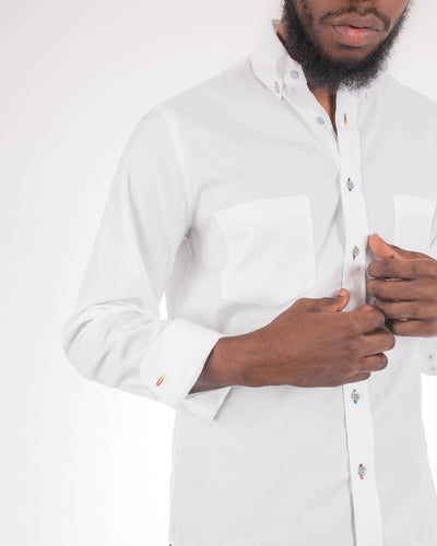 White Landcaster Button Down Long Sleeve Sport Shirt
