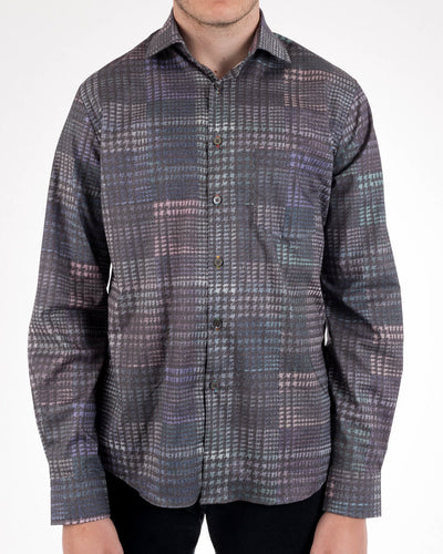 Alexander Julian Dark Glen Plaid Print Long Sleeve Shirt