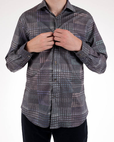 Dark Glen Plaid Print Men's Long Sleeve Button Up Shirt