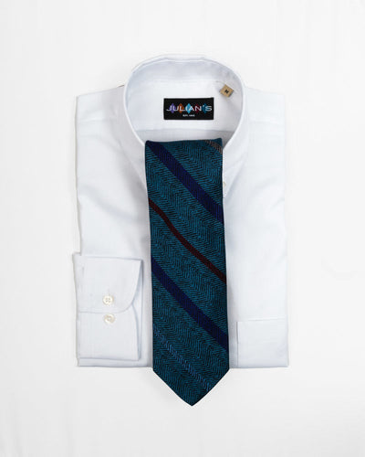 Teal Heather Herringbone Repp Stripe Tie