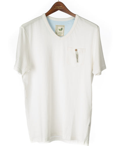 Alexander Julian Short Sleeve Organic Cotton Pocket Tee Natural