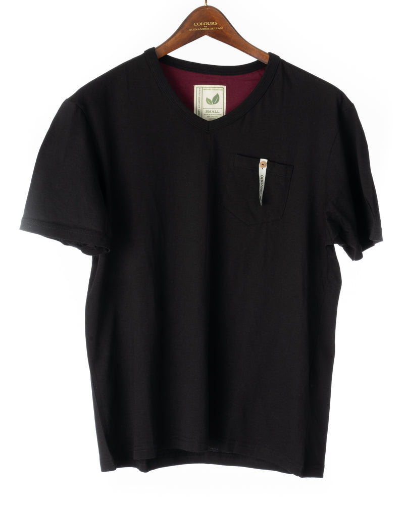 Alexander Julian Short Sleeve Organic Cotton Pocket Tee Black