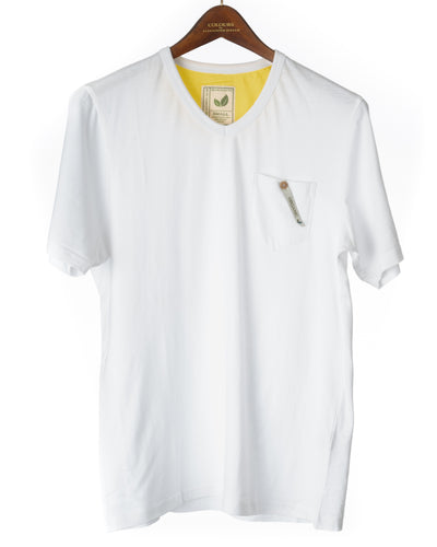 Alexander Julian Short Sleeve Organic Cotton Pocket Tee White