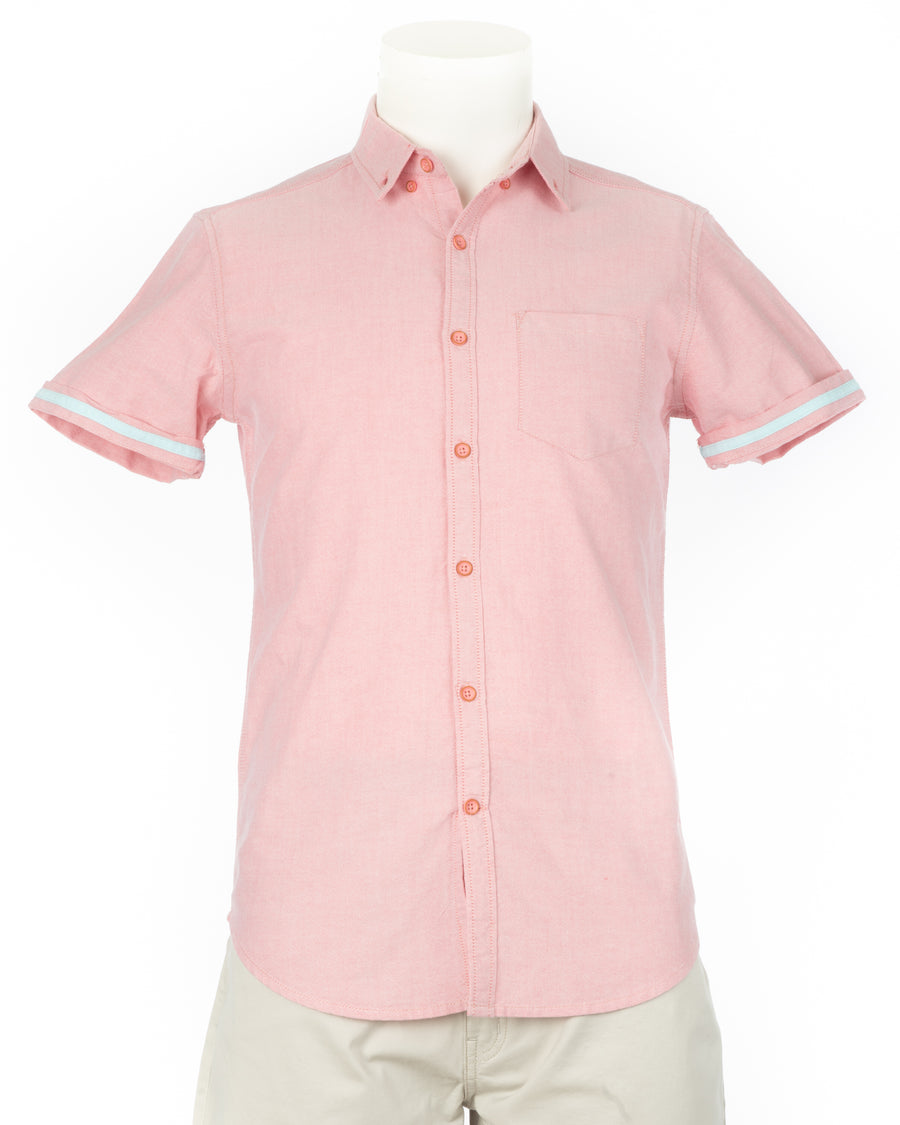 Coral Organic Cotton Short Sleeve Oxford Shirt