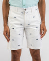 White Flat Front Shark Shorts