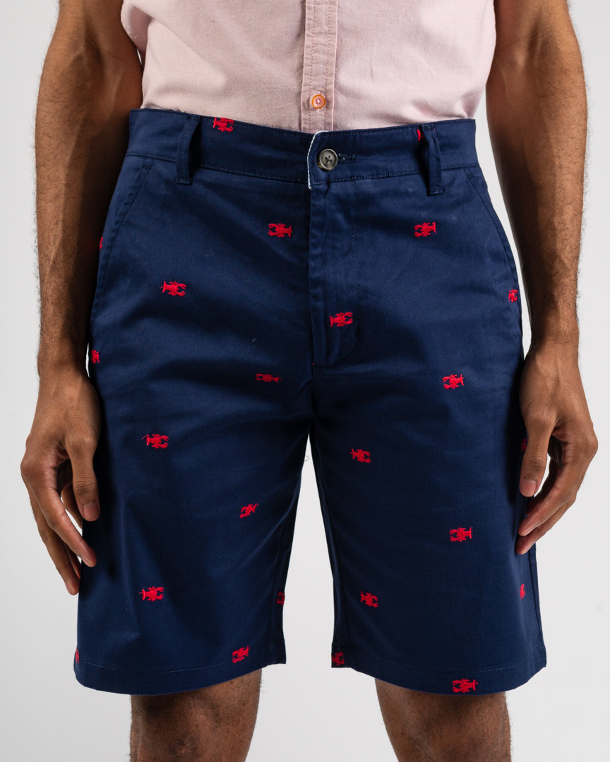 Navy Flat Front Lobster Shorts