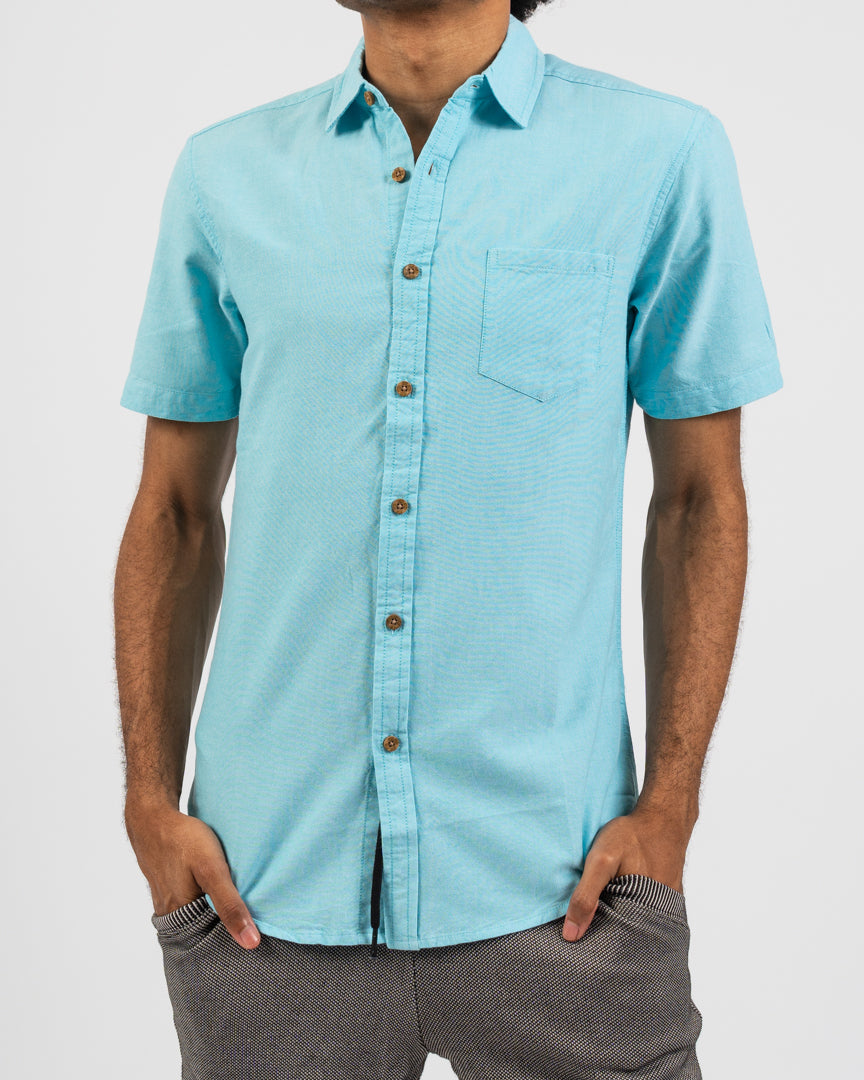Turquoise Organic Pocket Oxford Shirt