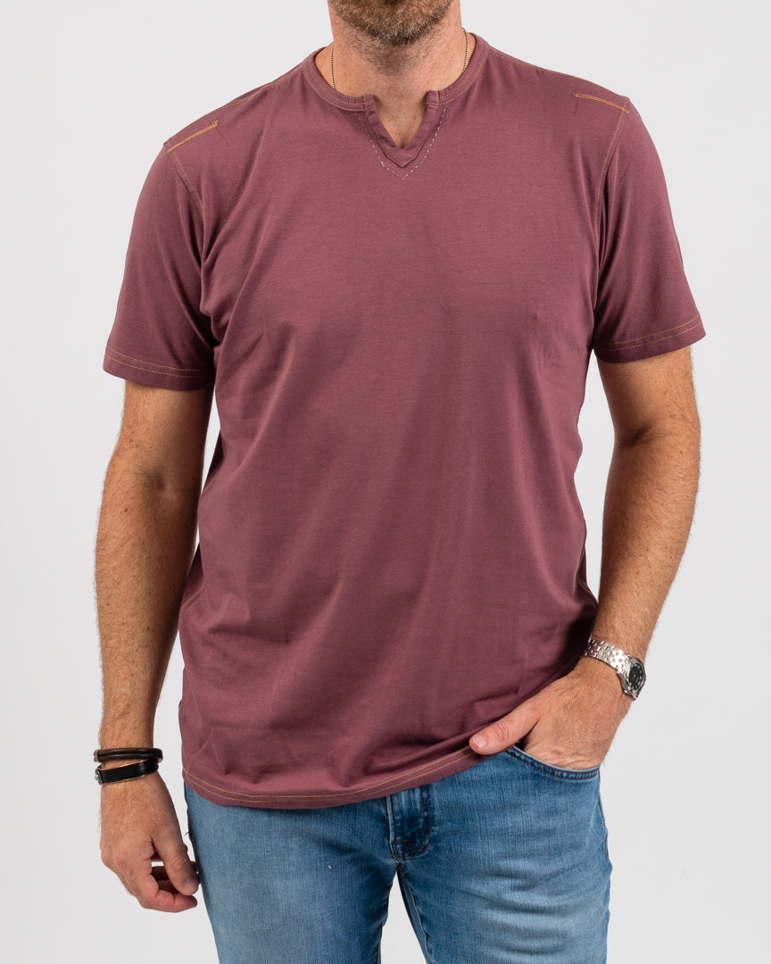 Smokey Mauve Short Sleeve Notch Neck Tee