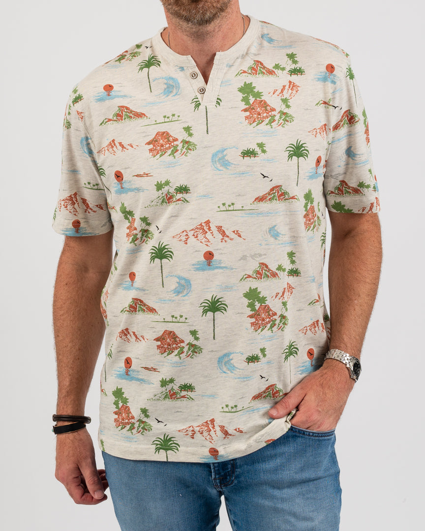 Hawaii Coast 2 Button Tee