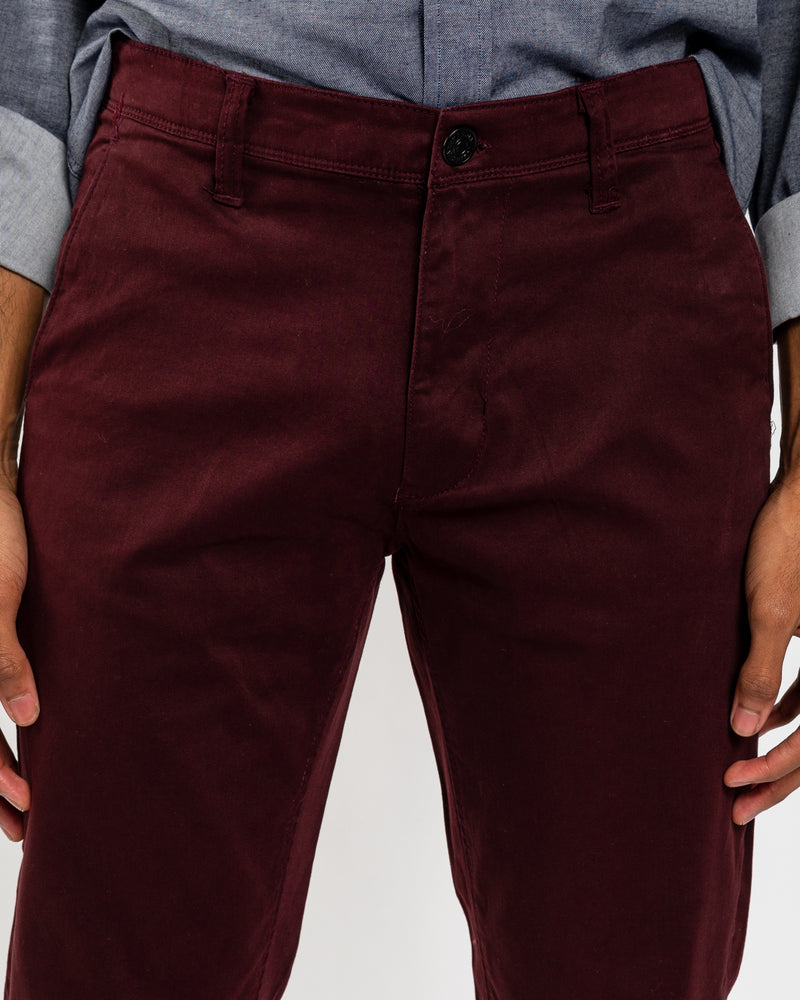 Burgundy Stretch Sateen Slim-Fit Chino