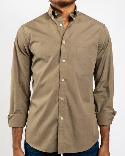 Khaki Organic Cotton Poplin Shirt