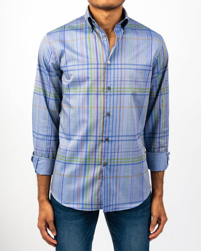 No-land Blue Plaid Shirt