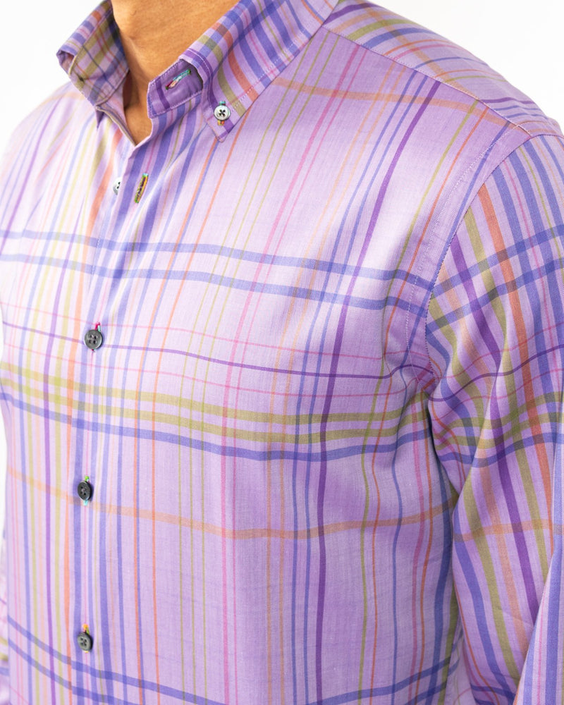 No-land Purple Plaid Shirt