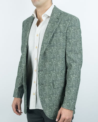 Small Herringbone Cotton | Tweed Blazer
