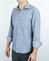 Grey/Houndstooth Reversible Long Sleeve Preppy Shirt