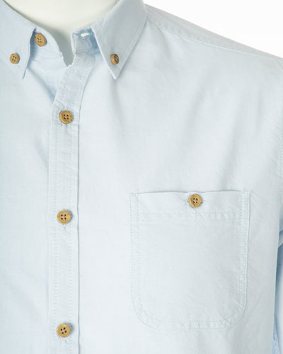 Summer Blue Organic Cotton Long Sleeve Oxford Shirt Collar Top Pocket