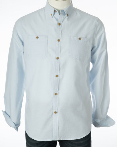 Summer Blue Organic Cotton Long Sleeve Oxford Shirt Front