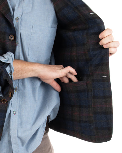 Lambswool/Cashmere Plaid Blazer Inside Pockets