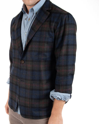 Lambswool/Cashmere Plaid Blazer Front