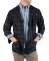 Lambswool/Cashmere Plaid Button Up Blazer
