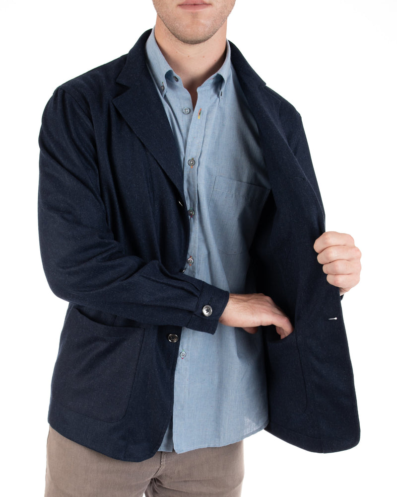Men's Navy Herringbone Wool Blazer