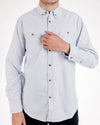 Organic Cotton Summer Blue Button Down Long Sleeve Oxford Shirt Front