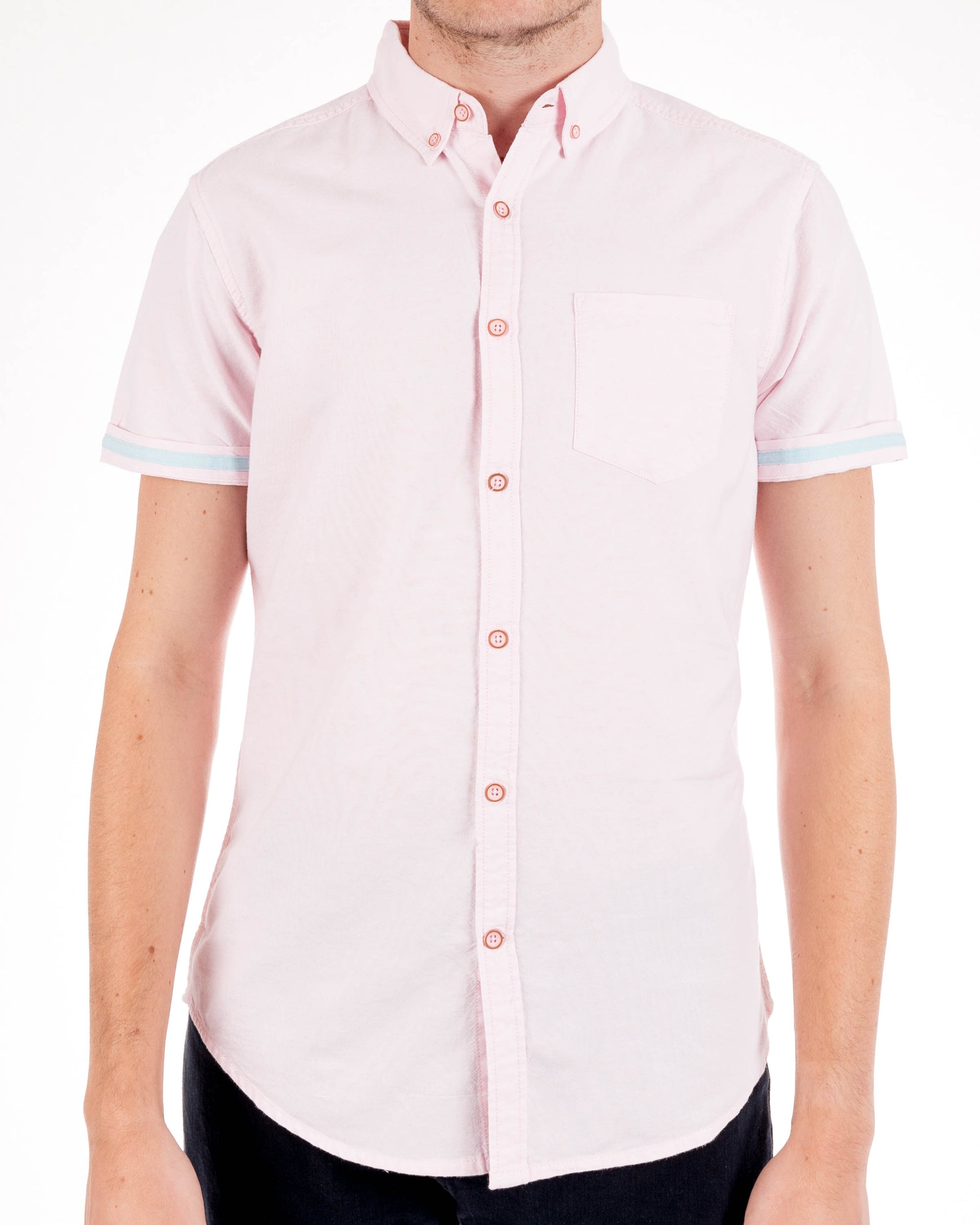 Pink Organic Cotton Short Sleeve Oxford Shirt