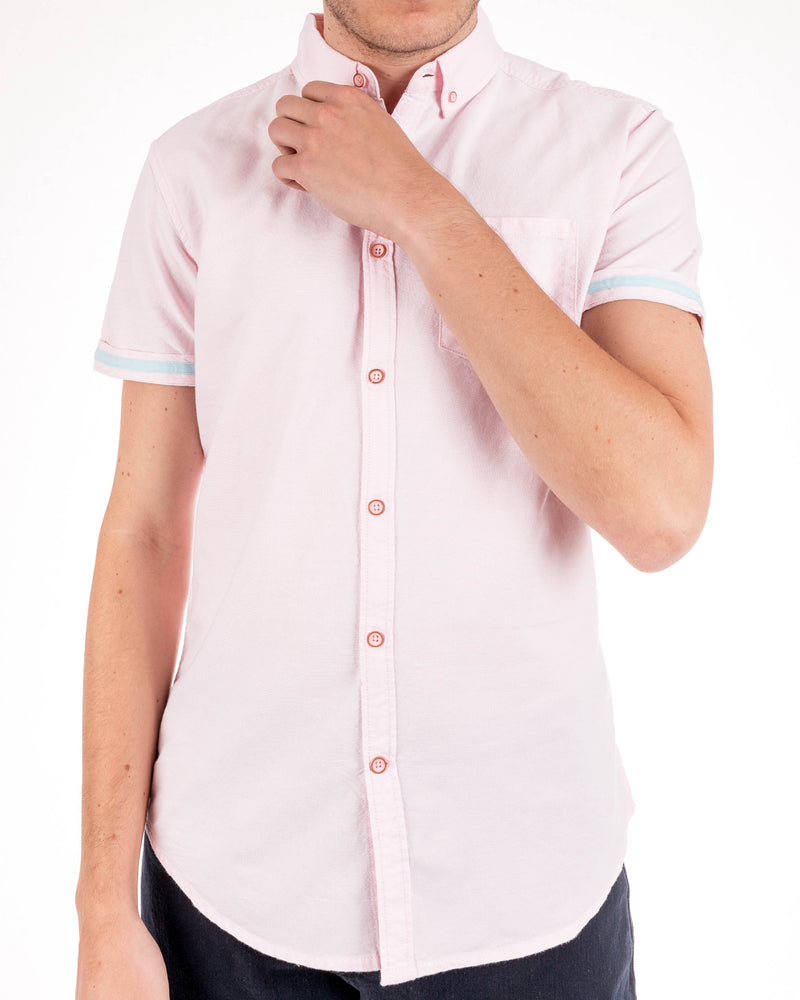 Men's Pink Organic Cotton Short Sleeve Oxford Shirt