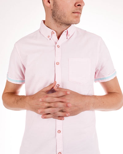 Pink Organic Cotton Short Sleeve Oxford Shirt Front