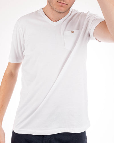 Short Sleeve Organic Cotton Pocket Tee White