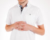 Short Sleeve Grindle White Jersey Polo Shirt Front