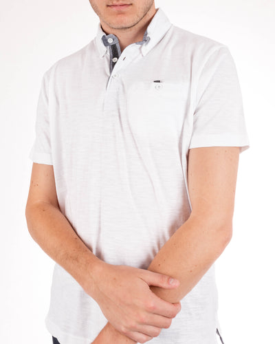 Short Sleeve Grindle White Jersey Polo Shirt Side