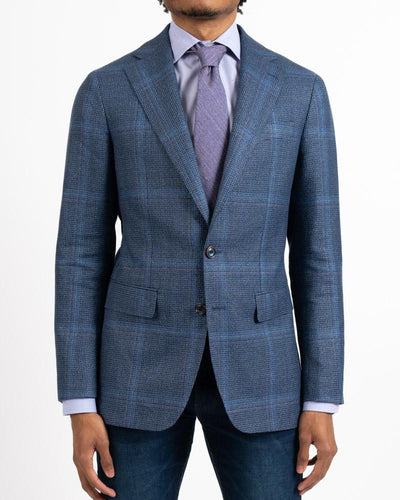 Marling Steel Blue Overpane Wool/Linen Sportcoat