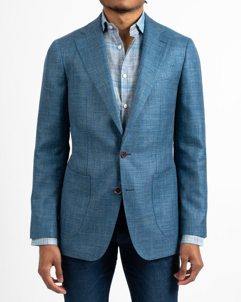 Loro Piana Teal Wool Silk and Linen Sportcoat