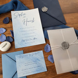 watercolour invite with vellum wallet, wax seal and twine