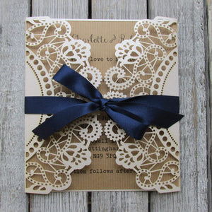 laser cut lace wedding invitation