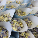confetti cone filled with real petal flower confetti