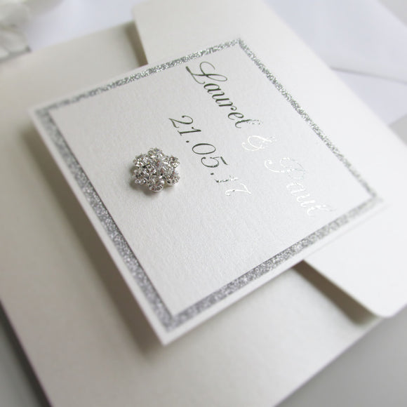 foiled wedding invitation