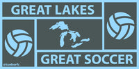 "Great Lakes. Great Soccer. Sticker (2"" x 4"")"