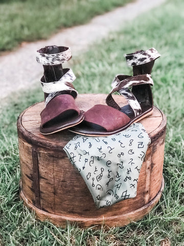 Cowhide Ankle Sandals