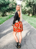 Retro CowBell Skirt - Red