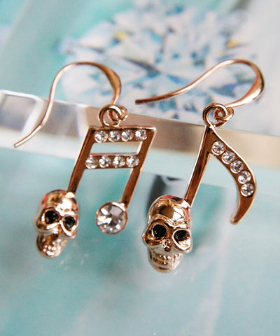 Music Note Style Skull Earrings