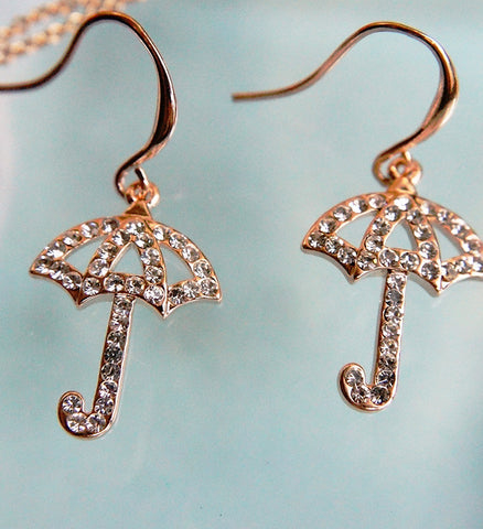 Crystalised Umbrella Earrings