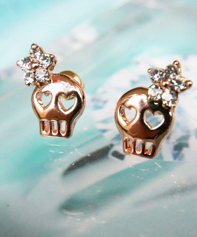 Skull Studs Earrings  with Silver Crystal Flower
