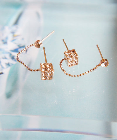 Dice Style Double Studs Earrings
